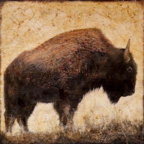 Bison in Red, 22x22 inch Encaustic