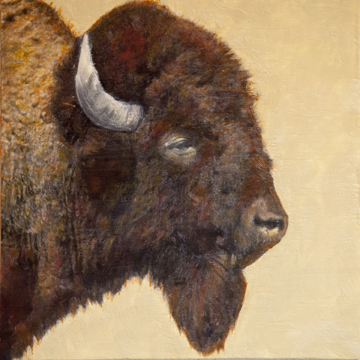 Portrait of a Bison #1, 16x16 inch Encaustic