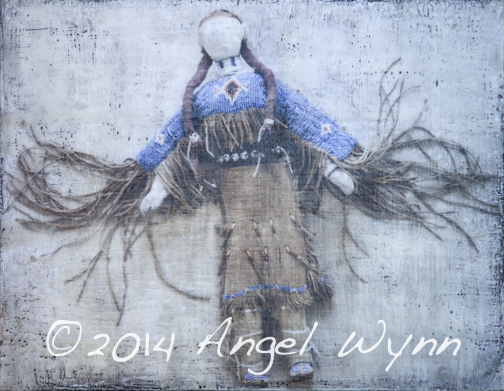 Sioux Doll, SOLD, 12x16 inch framed encaustic