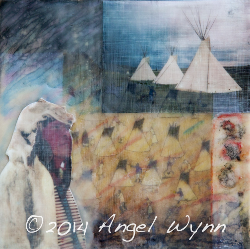 Crow Storyteller, 10x10 inch encaustic