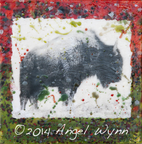 Christmas Bison, 8x8 inch encaustic