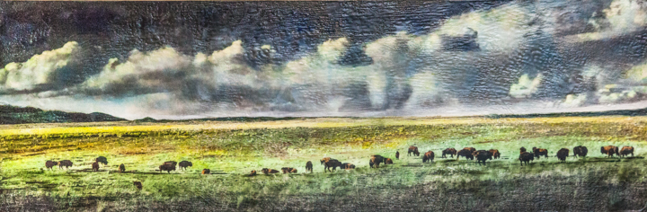 Greetings From Vermijo Ranch, 12x36 inch Encaustic