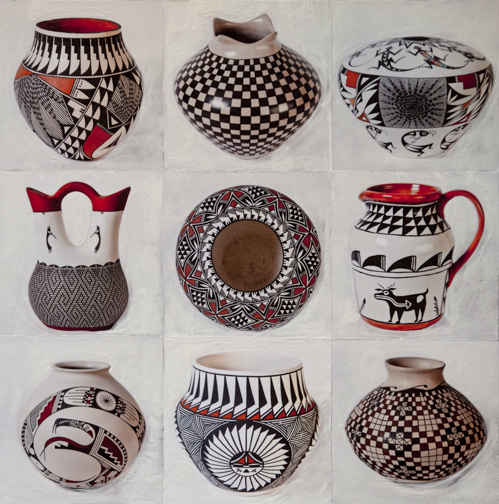 Acoma Pot Collection, 24x24 inch encaustic