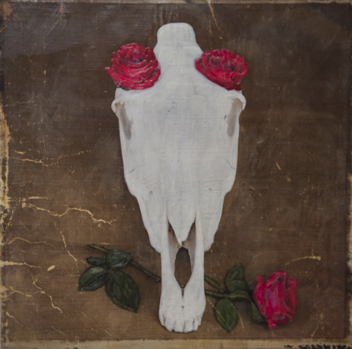 Ole!Horse Skull and Roses, 20x20 inch Encaustic, $1100