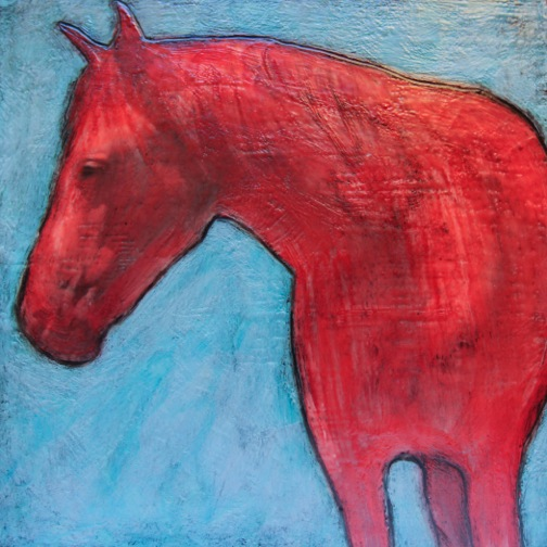 Red Horse, 12x12 inch Encaustic