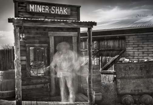 Miner Prospector Ghost, 12x12 inch Digital Canvas Print Framed