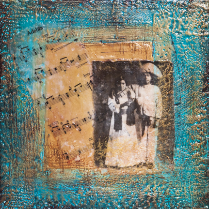 Song For Adelita, 12x12 inch encaustic