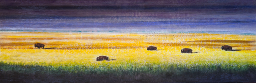 Family of Five Bison, 12x36 inch Encaustic