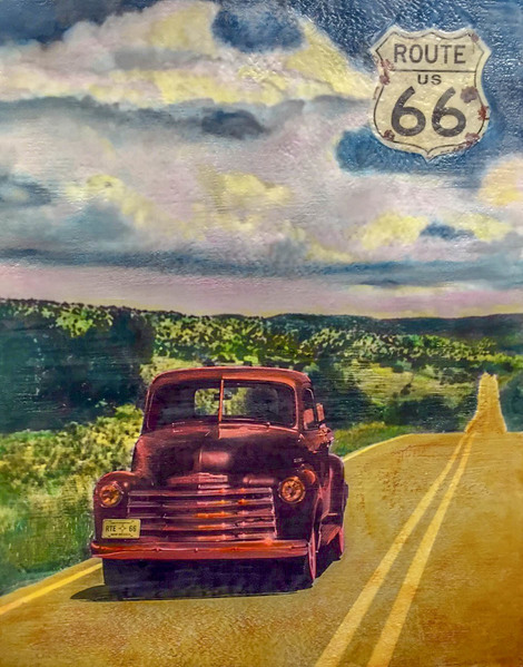 Route 66 New Mex, 30x24 inch Encaustic, $1800