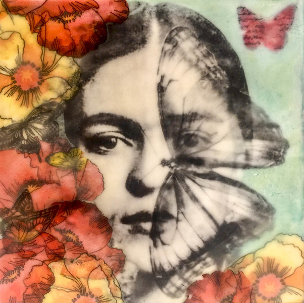 Butterflys Are Free, 8x8 inch encaustic, $225
