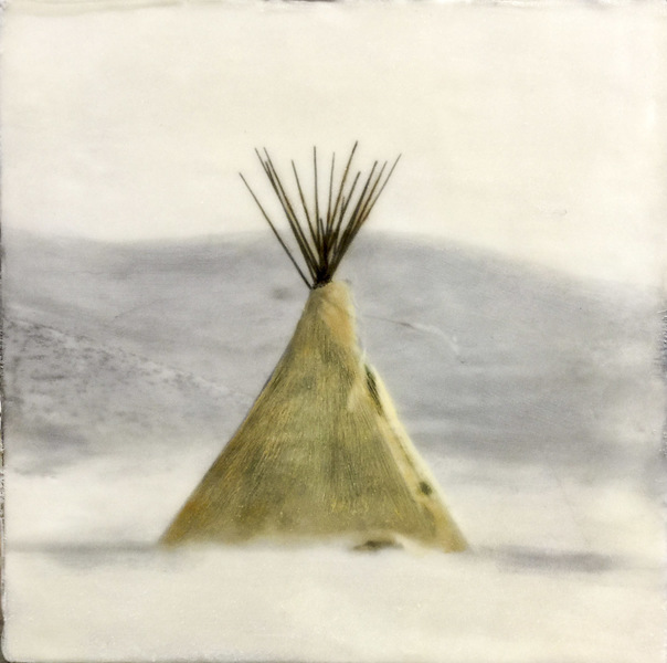 Tipi On Snow, 10x10 inch encaustic