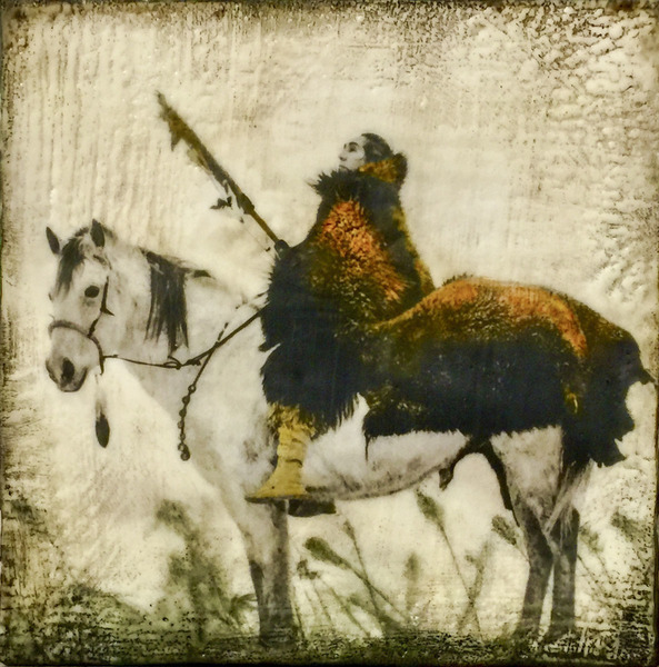 The Buffalo Hunter, 12x12 inch encaustic