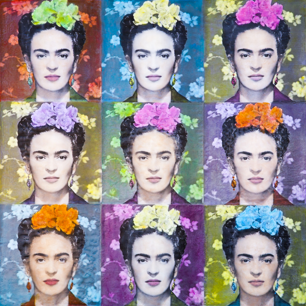 Angel Wynn_Frida Meets Warhol_Encaustic_24x24 inch