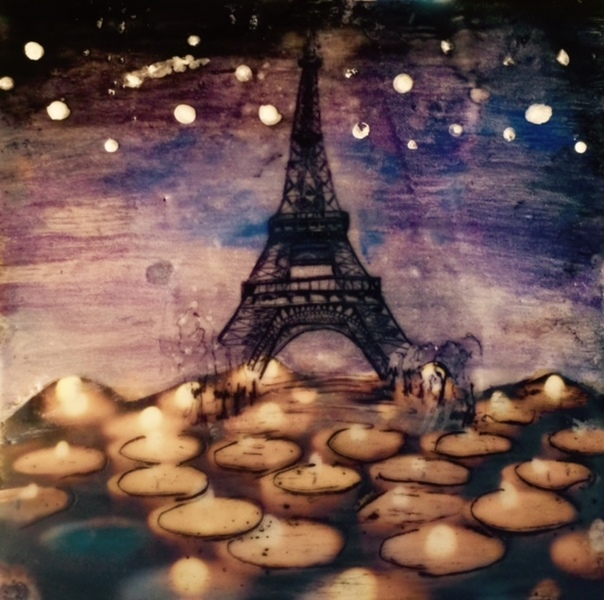 Paris Candle Light Memorial, 16x16 inch encaustic