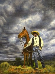 Galisteo Basin Cowboy, 36x24 inch, $2600 Sold