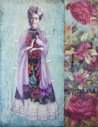 Paper Doll Frida & Dove, 14x11 inch Encaustic, $450