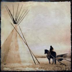 Horse Travois & Tipi, 16x16 inch Sold