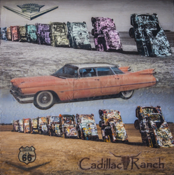 Cadillac Ranch, 16x16 inch encaustic, $800