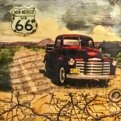 """Get Your Kicks on Route 66"", 16x16 inch Encaustic, $800 Sold"