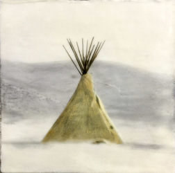 Tipi On Snow, 10x10 inch encaustic, SOLD
