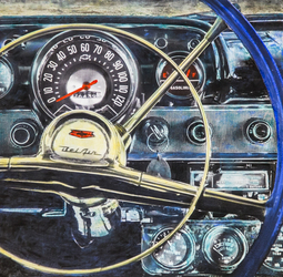 """Bel-Air Dashboard"" / 24x24 inch Cold Wax / $1200"