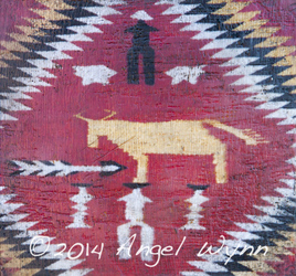 Navajo Cow Blanket, 8x8 inch, Sold
