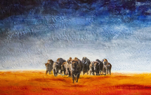 Where The Buffalo Roam, 30x47 inch, $3300 Sold