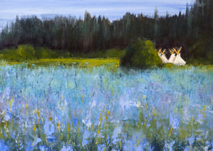 Camas Prairie Encampment, 11x14 inch Oil, Sold