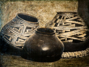Three Anasazi Pots, 29x36 inch, $2500 Sold