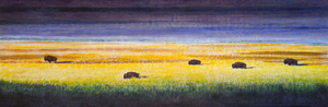 Family of Five Bison / 20x60 inch /Commissioned
