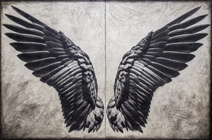 Raven Wings (diptych) / 48x72 inches / $7800