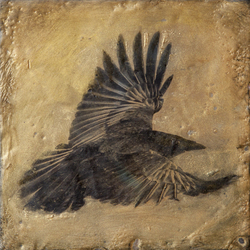 Raven in Gold / 6x6 inch / Sold