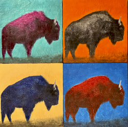 Where Buffalo Roam (Set of 4) 24x24 inch